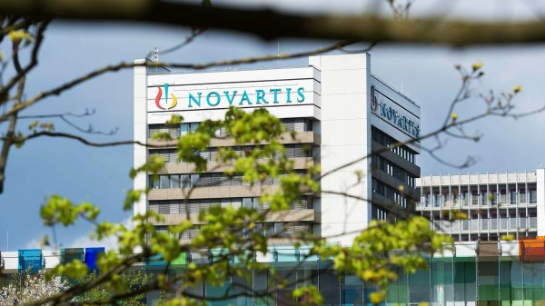 An image of a building with a Novartis logo