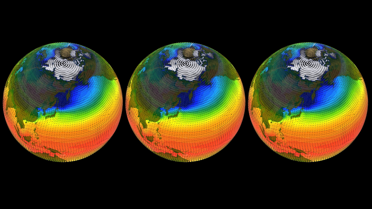 three climate model globes