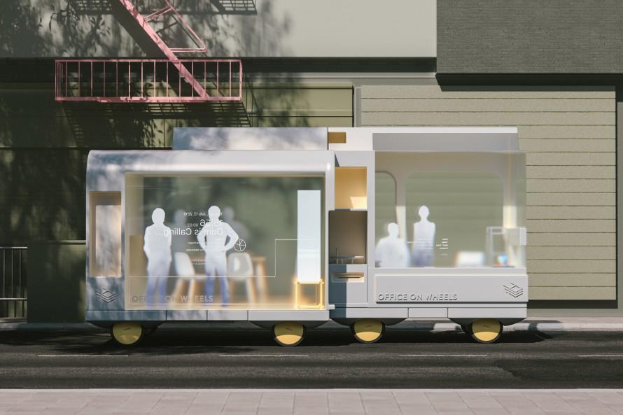 Rendering of Ikea's office on Wheels