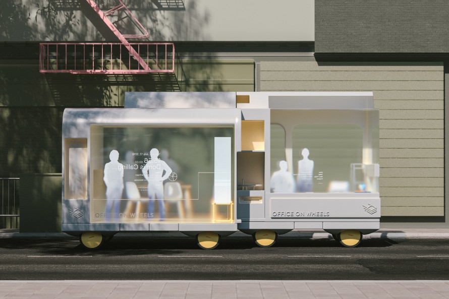 Rendering of Ikea's office on Wheels