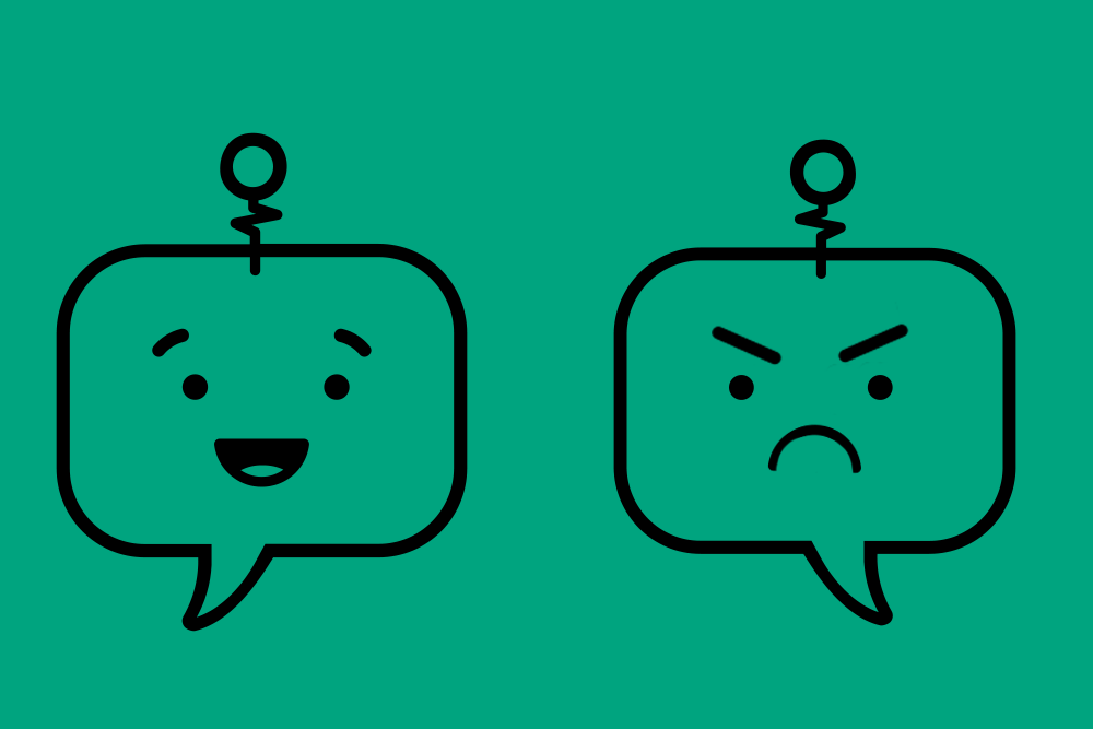 Two chatbots, one happy, one angry