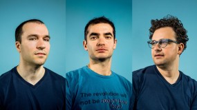 Photograph of three founding members of OpenAI