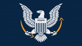 Illustration showing the Department of Defense Eagle with an Amazon logo on its shield and holding Amazon smiles in it's talons