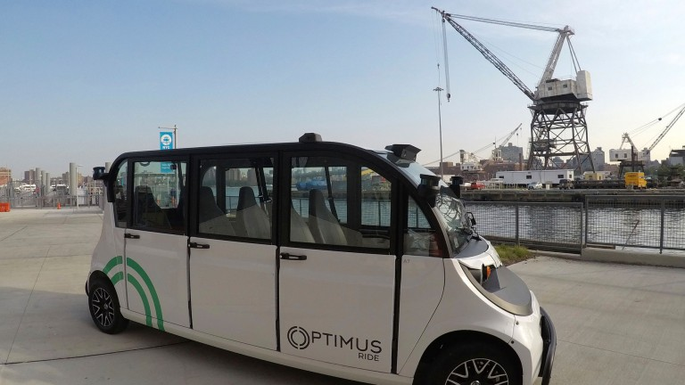 A driverless shuttle vehicle in New York City's Brooklyn Navy Yard