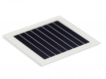 Oxford PV's commercial-sized solar cell (left), and the one centimeter square version (right).