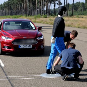 Engineers Experiment With The Pedestrian Detection System On A Test Track