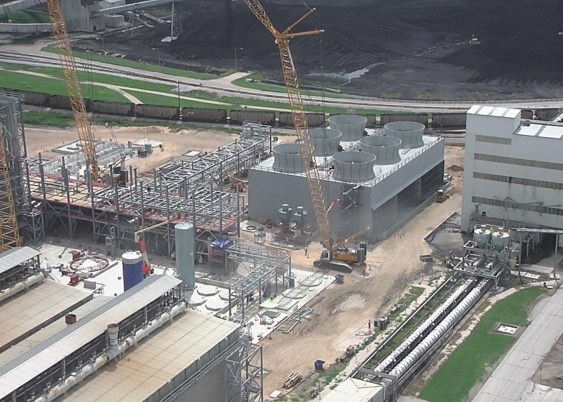 Construction under way at the W.A. Parish power plant in Texas last year.