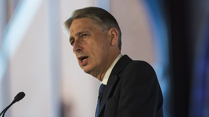 UK chancellor Philip Hammond speaking in public