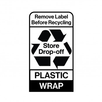 """An image of a recycling label that reads """"Remove label before recycling/ Store Drop-off/ Plastic/ Film"""""""