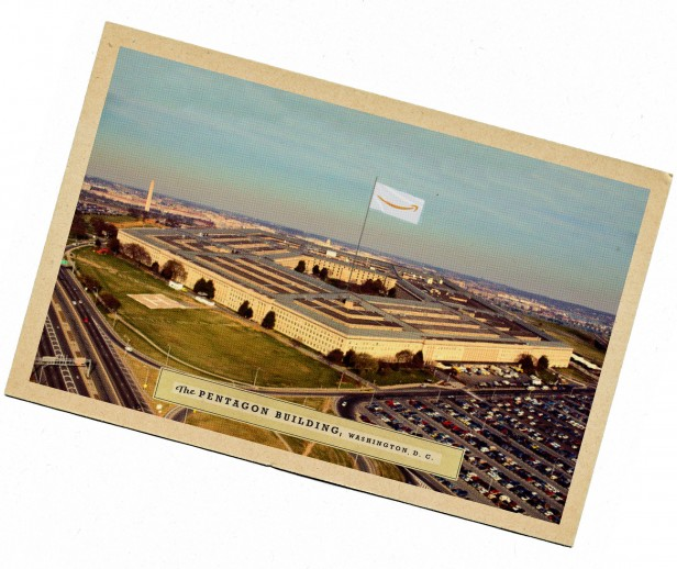 Vintage looking postcard of the Pentagon building, with an Amazon logo flag in the center.