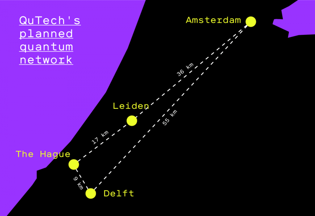 Map of the Netherlands that shows the distance between the 4 cities