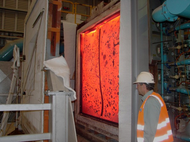 Photo showing fire-testing of window