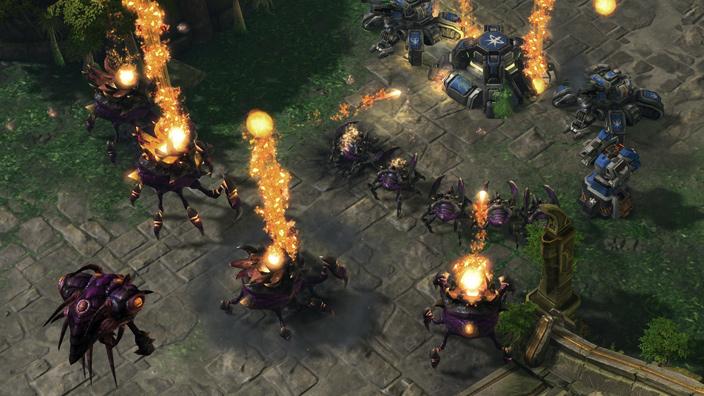 A battle scene from Starcraft II