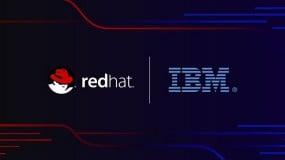 Red hat and IBM logos