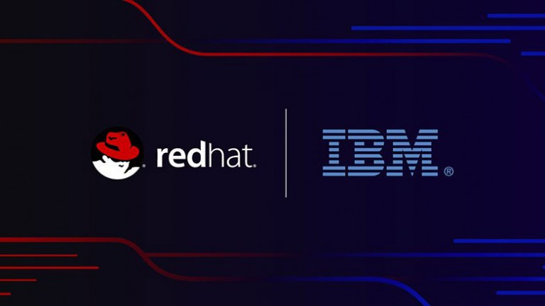Red hat and IBM logos