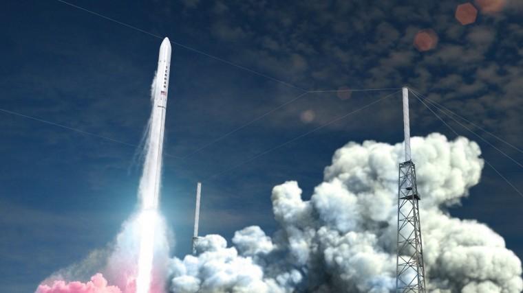 Rendering of rocket taking off.