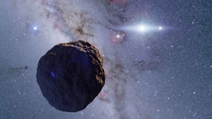 Rendering of discovered Kuiper Belt object in space.