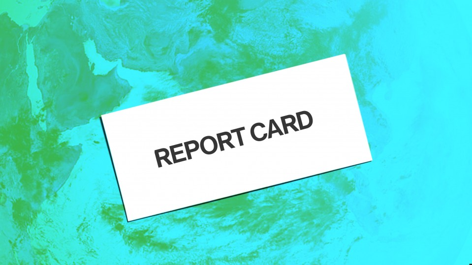 "Image of an envelope reading ""Report card"" on a planet earth blue and green background"