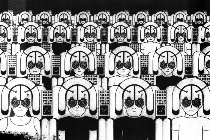Illustration of audience of people wearing helmets and eyepieces