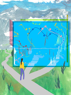 illustration of data screen in a mountainous landscape