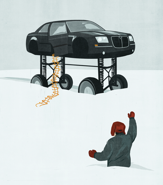 illustration of man in waist-high snow hailing car on lift