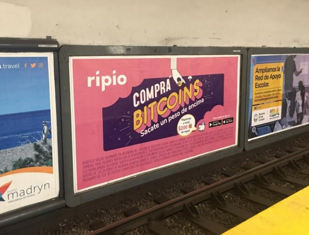 photograph of a ripio billboard in the subway