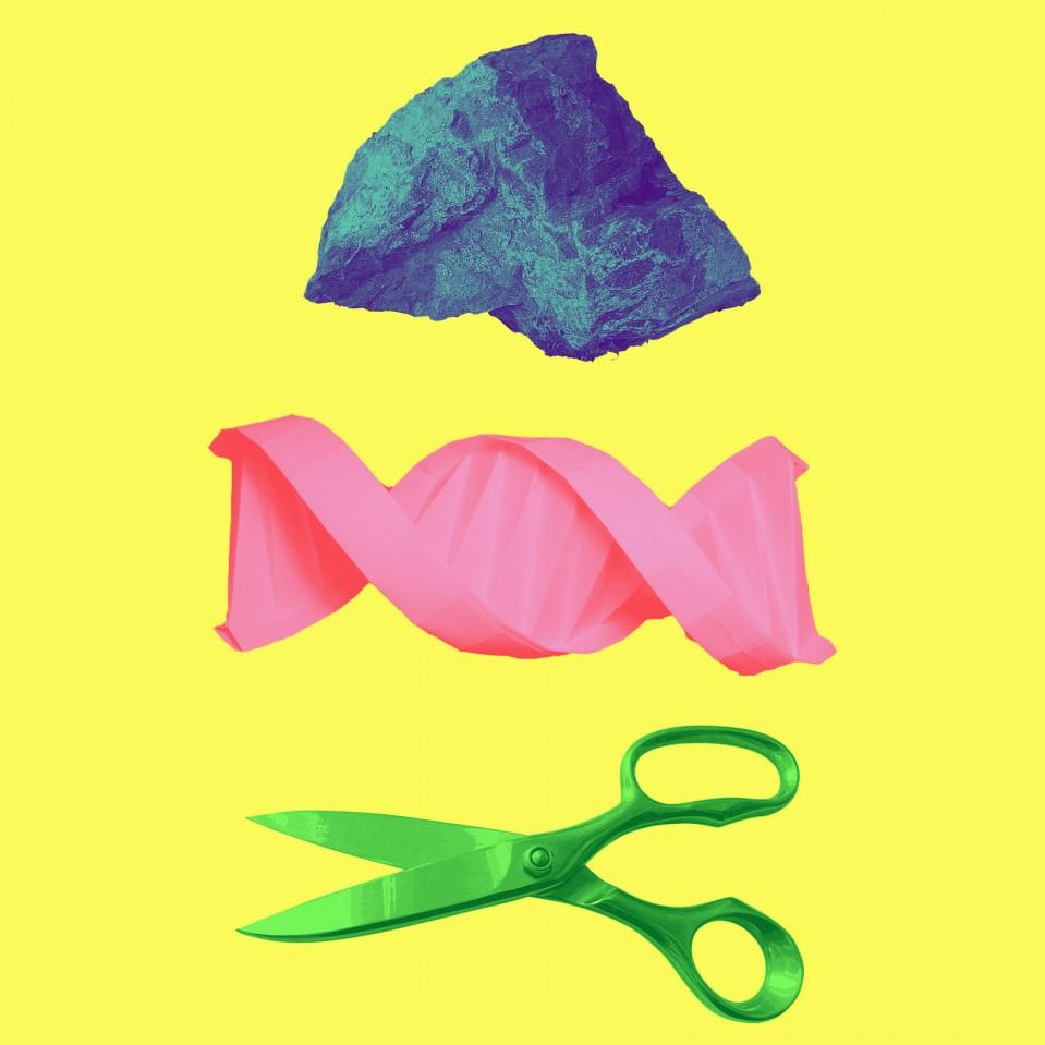 Conceptual illustration of rock paper scissors ans DNA, CRISPR and Anti-crispr