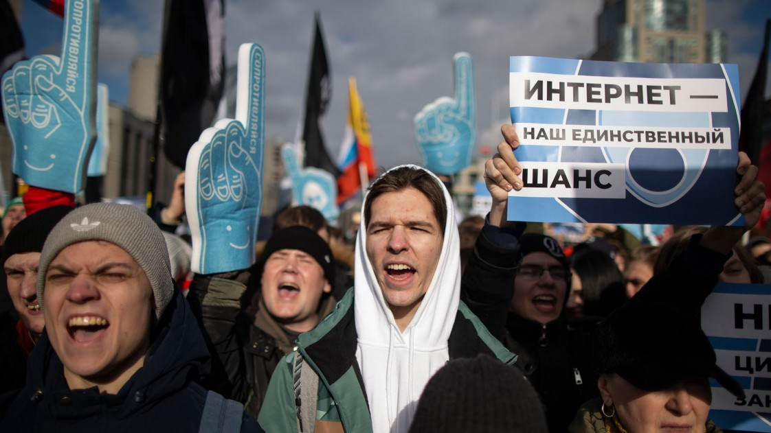 protesters on the streets in Moscow