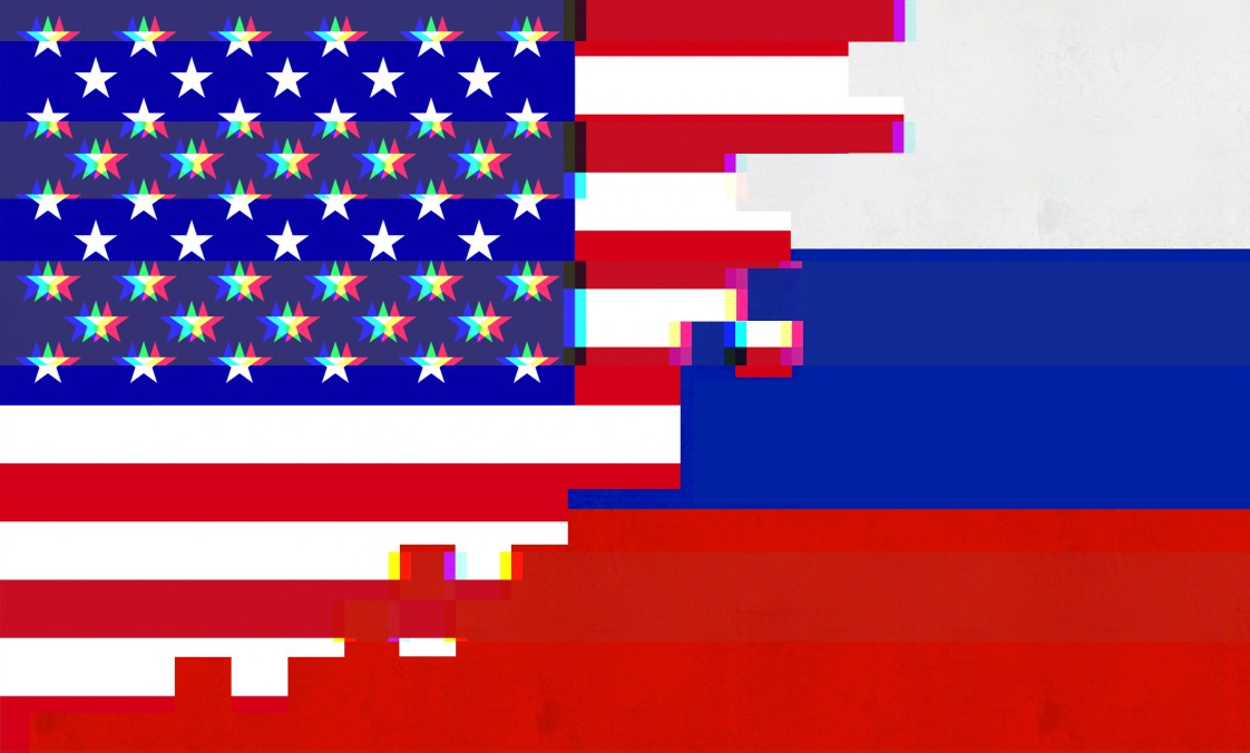 U.S. and Russian flags pixelated and blending together