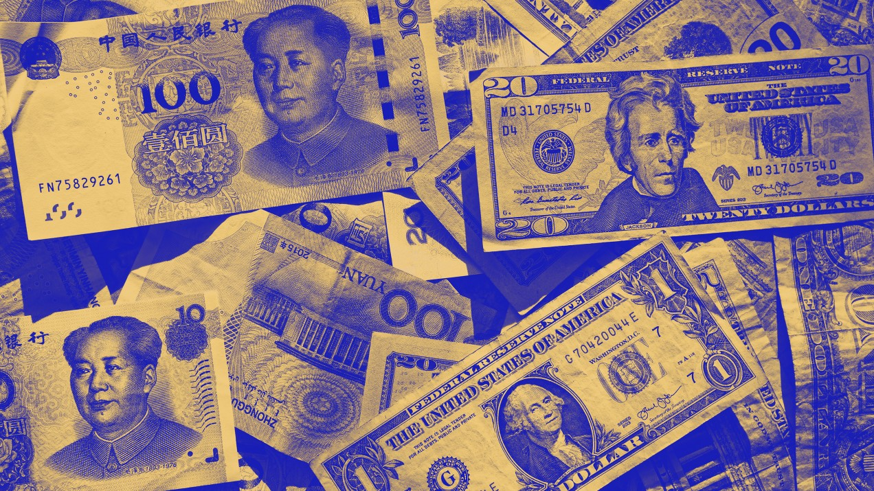 Chinese and American paper currency