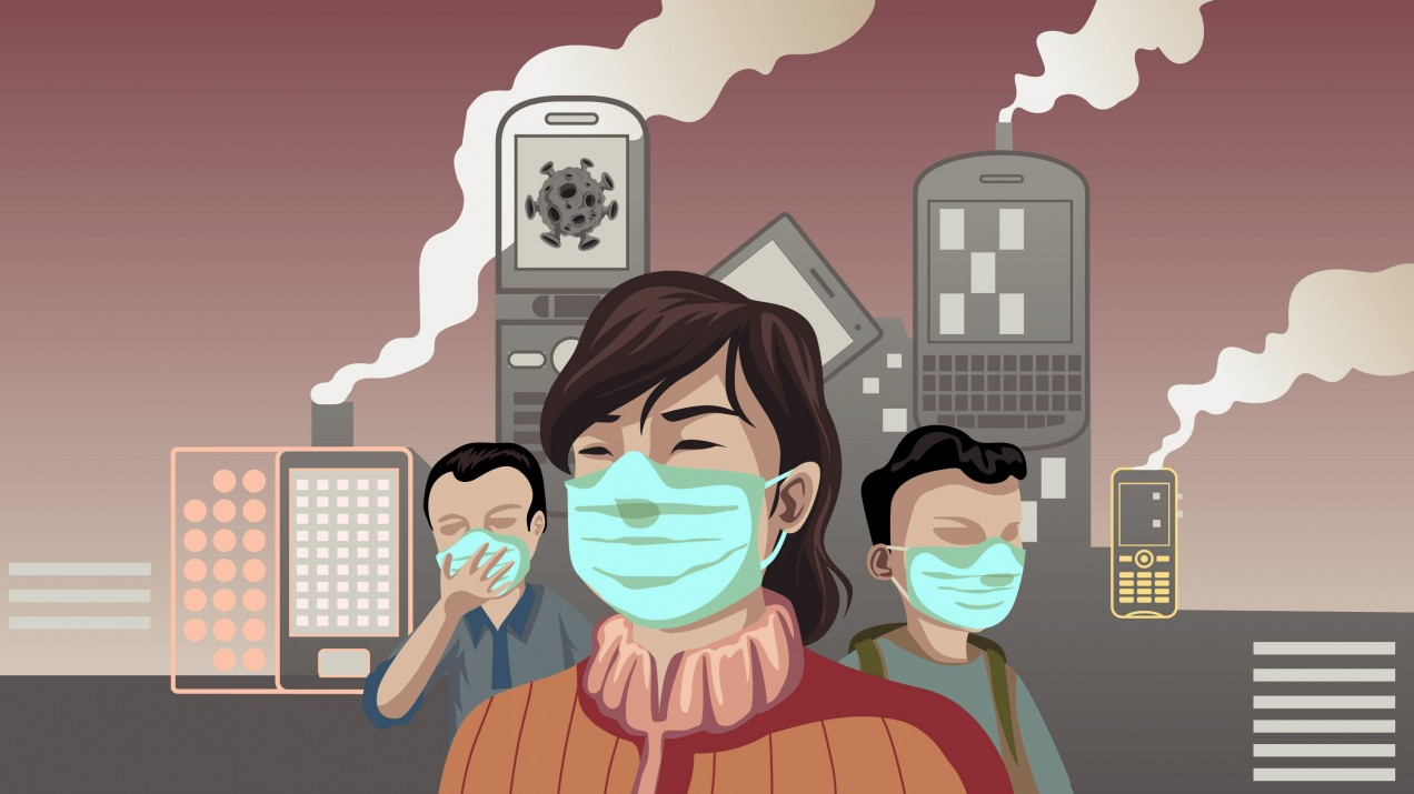 Illustration of people wearing masks against a backdrop of phones and other personal devices sending pollution into the air.