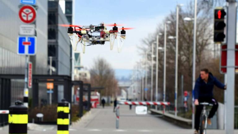 An autonomous drone on the city streets.