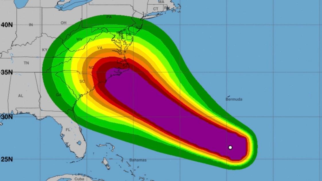 Hurricane Florence wind speed probabilities.