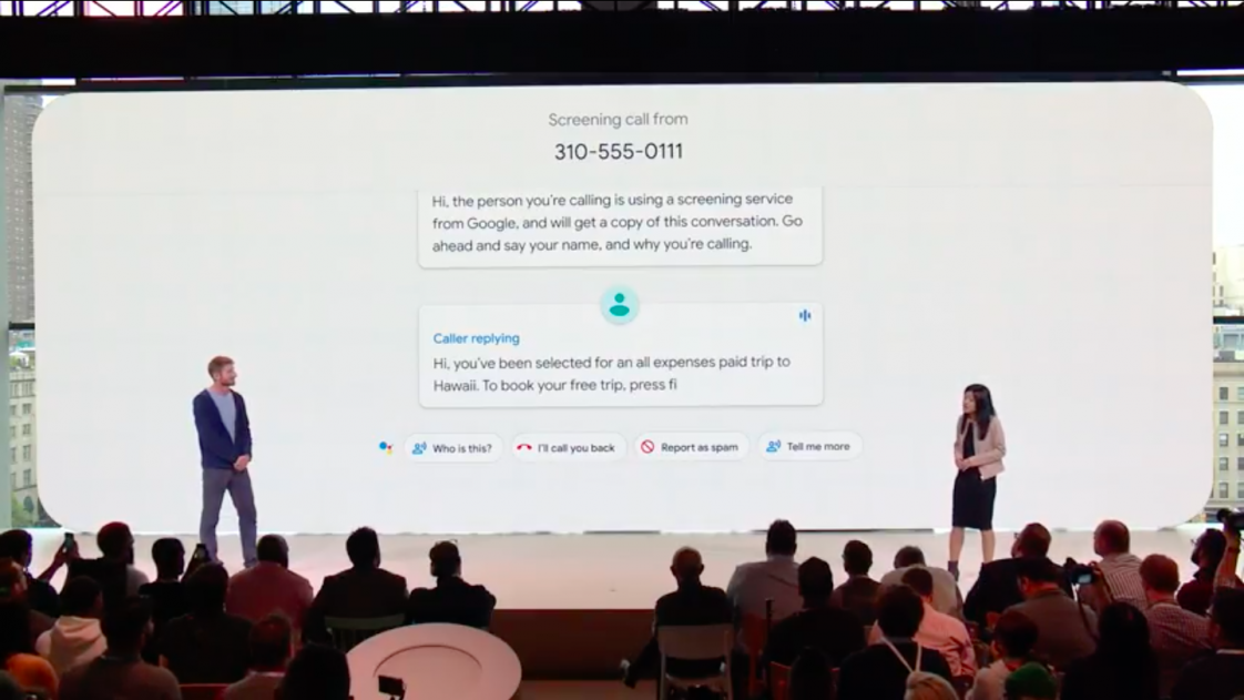 Google announces the Screen Call feature at its Pixel event in New York.