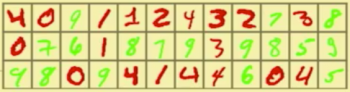 Images of handwritten numbers, colored in red and green.