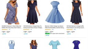 A screenshot of blue dresses with white polka dots on Amazon.