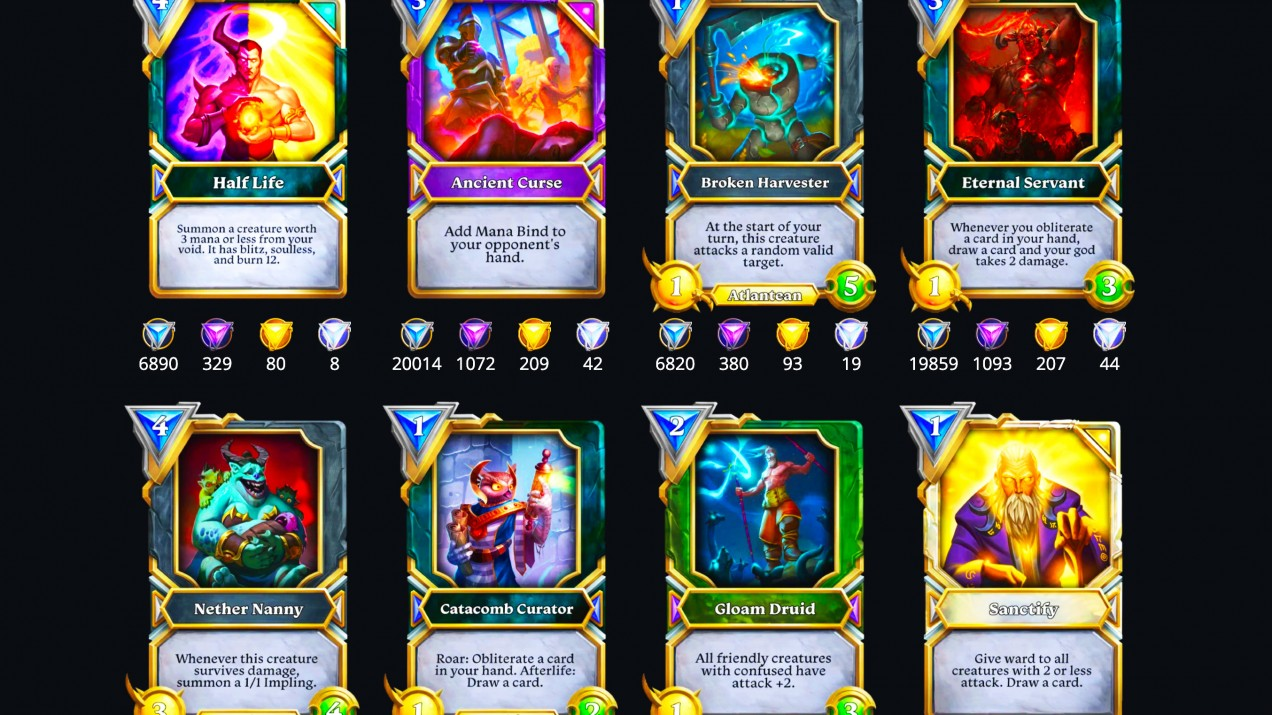 An image of cards from Gods Unchained