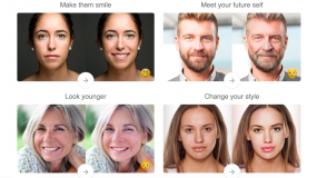An image of all the face alterations FaceApp can do: make them smile, meet your future self, look younger, change your style.