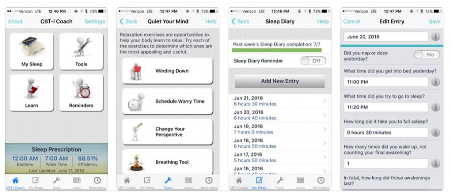 Screenshots of CBT app promoted by VA website.