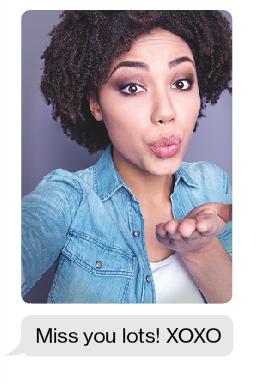 Photograph of the fake girlfriend blowing a kiss, along with a text that reads