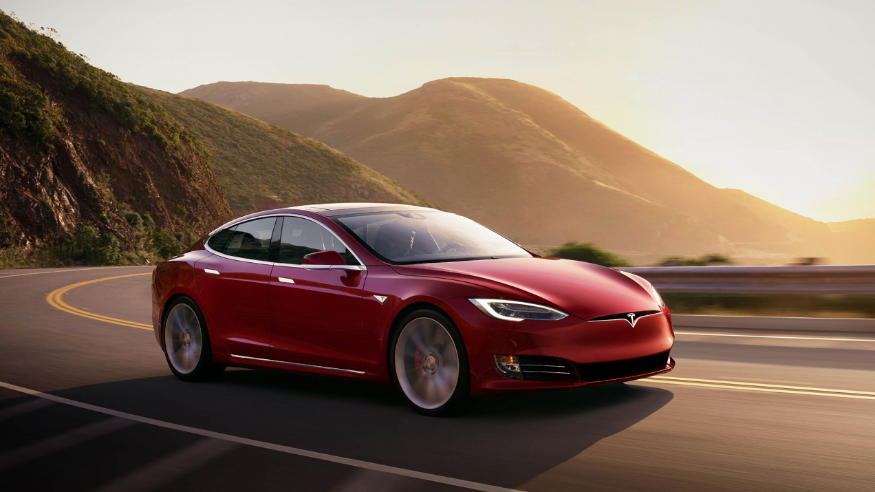 Tesla Model S driving in California Bay Area