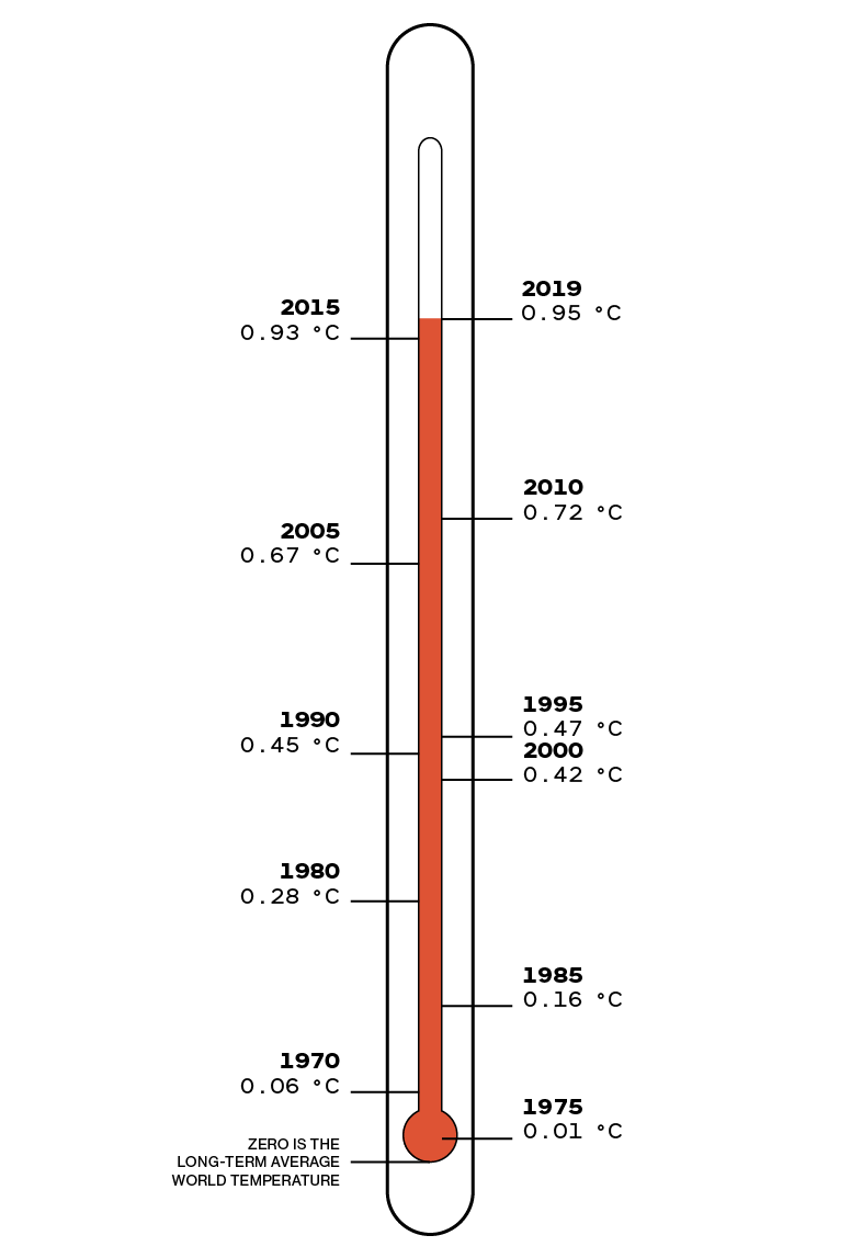 thermometer showing temperature rise