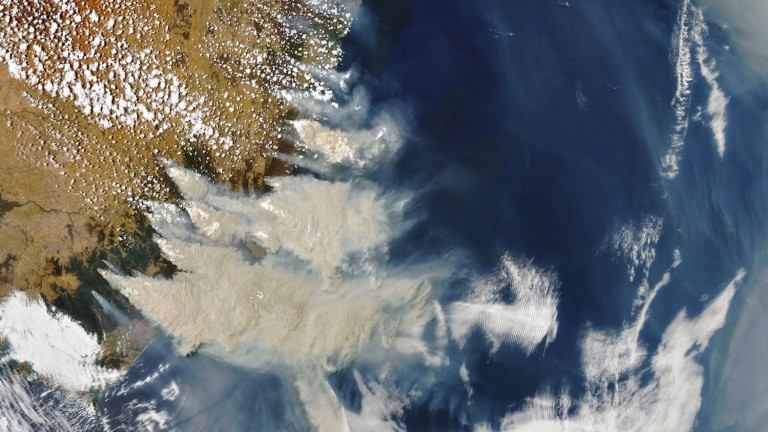 Smoke from the fires in southeastern Australia.