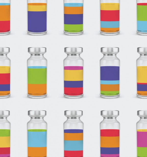 Photo illustration of vials of colorful liquid