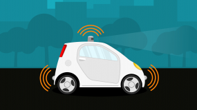 An illustration of a self-driving car on the road.