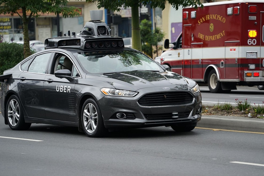 Photo of an Uber autonomous vehicle