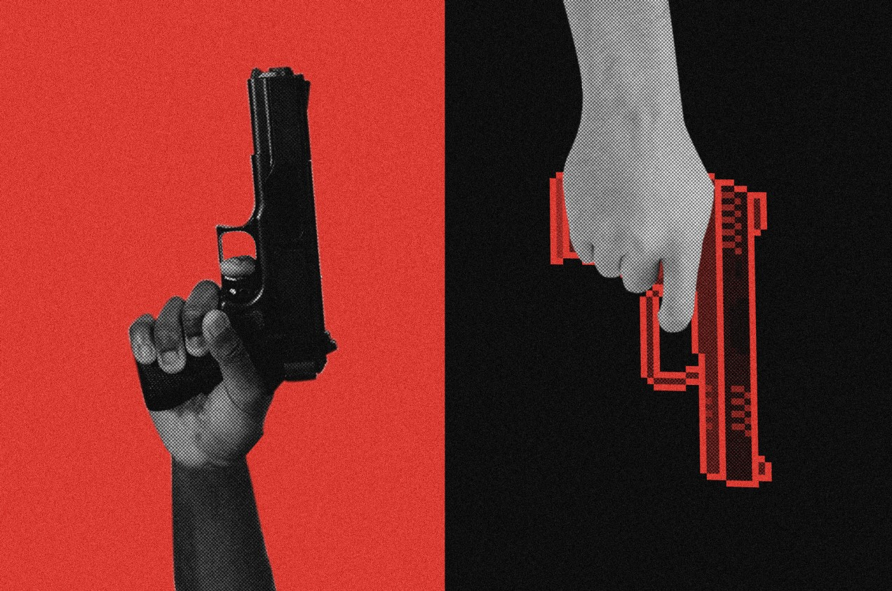 Conceptual photo illustration showing black person's hand holding a gun and a white hand holding a video-game-style gun