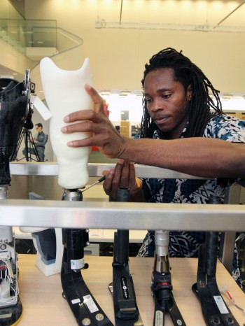 David Sengeh with prosthetics he developed
