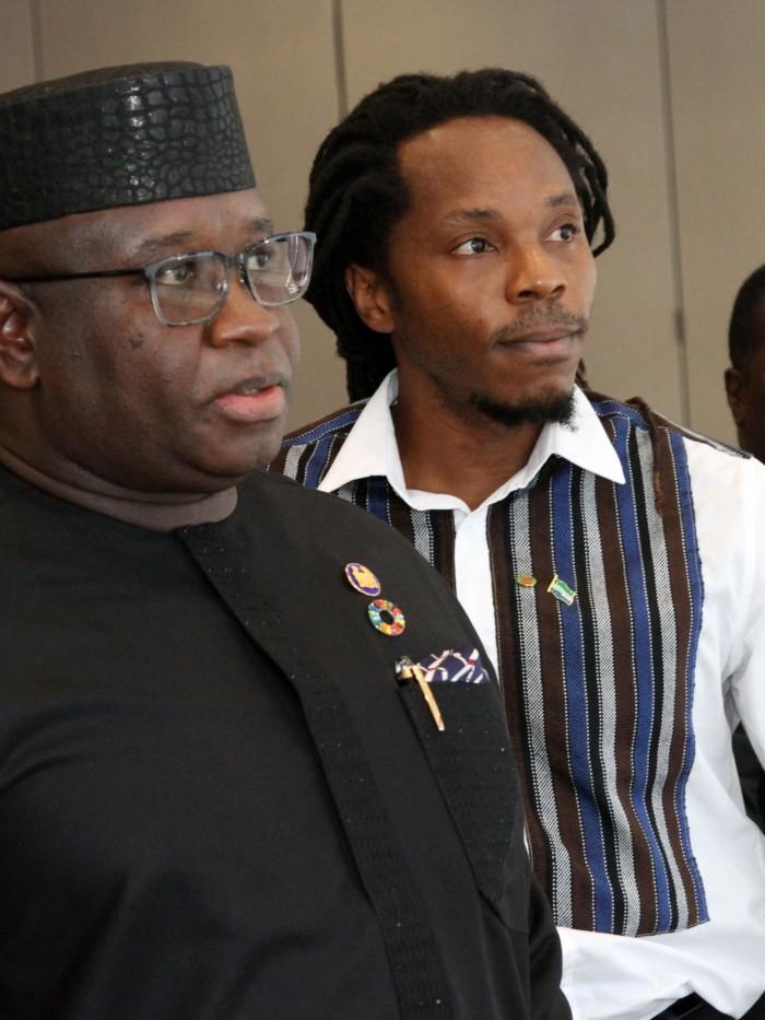 David Sengeh and Sierra Leone's president, Julius Bio