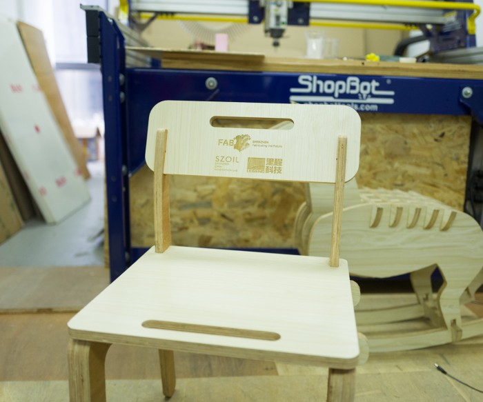 Photograph of a wooden chair prototype